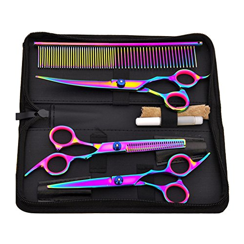 Bestmemories Dog Grooming Scissors Set Colorful Pet Scissors Set Pet Hair Cutting Teeth Shear Set Pet Grooming Curved Scissors Kit 7 Stainless Steel Hair Thinning Grooming Shear Comb Set (Colorful)