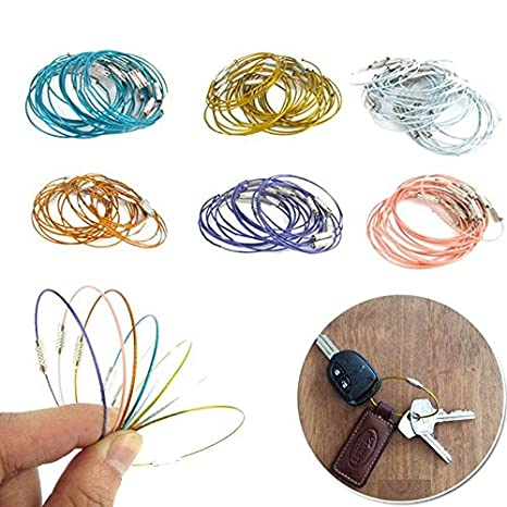5pcs Sports Wire Carabiner Key Chain Cable Stainless Steel Keyring Screw Locking