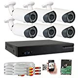 GW 5-In-1 1080P 8 Channel DVR 2MP 4X Optical Zoom Security Camera System with (6) x True HD 1080P Waterproof Auto-Focus 4X Motorized Zoom Bullet Camera, 130ft Night Vision For Sale