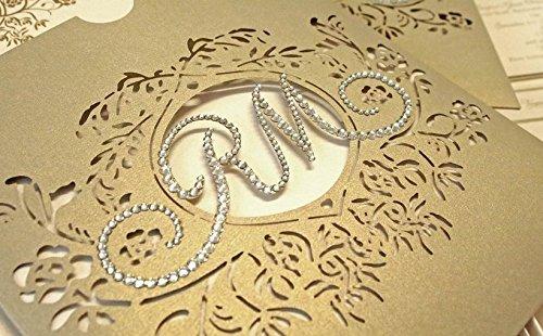 Luxury Wedding Invitations.Amazon Com Laser Cut Wedding Invitations Crystal Swarovski Luxury
