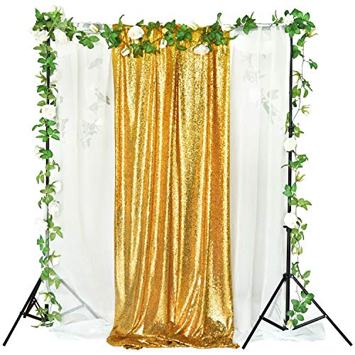 2 Pack Sequin Backdrop 2FT × 8FT Gold Glitter Dot Backdrop Curtain for Selfie Wedding Birthday Party Photography Background (2 Sequin)