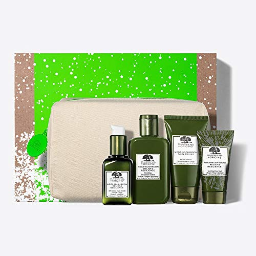 - Origins Dr. Andrew Weil Mega-Mushroom Skin Relief Soothing Essentials Set ($112 value) including Advanced Face Serum, Face Cleanser, Soothing Treatment Lotion and Soothing Face Cream