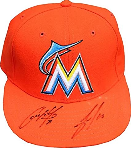 4fc0d37284cb1 Christian Yelich   Jose Fernandez Autographed Miami Marlins Orange Hat -  Autographed Hats
