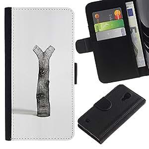 Be-Star la tarjeta de Crédito Slots PU Funda de cuero Monedero caso cubierta de piel Para Samsung Galaxy S4 IV I9500 ( Tree Deforestation Nature Love Symbolic Art )