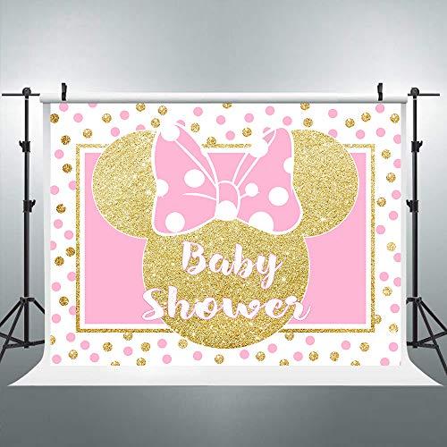Riyidecor 8x6ft Princess Mouse Head Baby Shower Backdrop Pink Gold Polka Dots Girl Photography Background Newborn Birthday Party Decoration Celebration Banner Props Photo Shoot Studio Vinyl Cloth