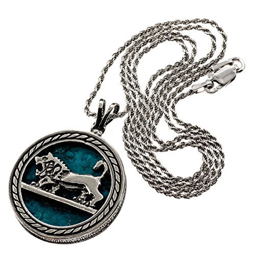 (Natural Eilat Stone Judaica Necklace Sterling Silver Lion Of Judah Pendant Round Pendant )