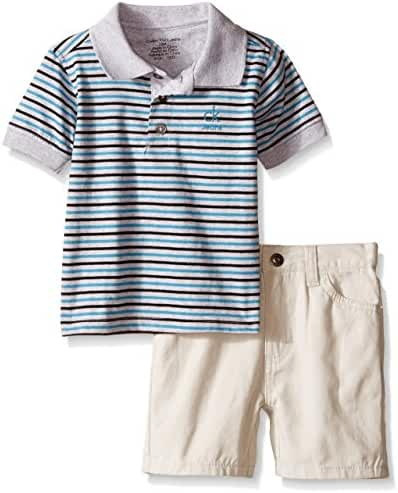 Calvin Klein Baby Boys' Yarn Dyed Stripe Jersey Polo and Twill Shorts