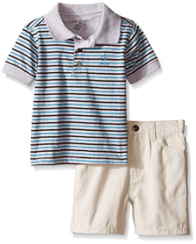 Calvin Klein Baby-Boys Yarn Dyed Stripe Jersey Polo and Twill Shorts, Black, 18 -