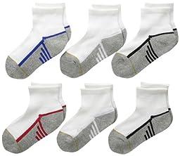 Gold Toe Big Boys\' 6 Pack Athletic Quarter Sock, White/Multi, Medium