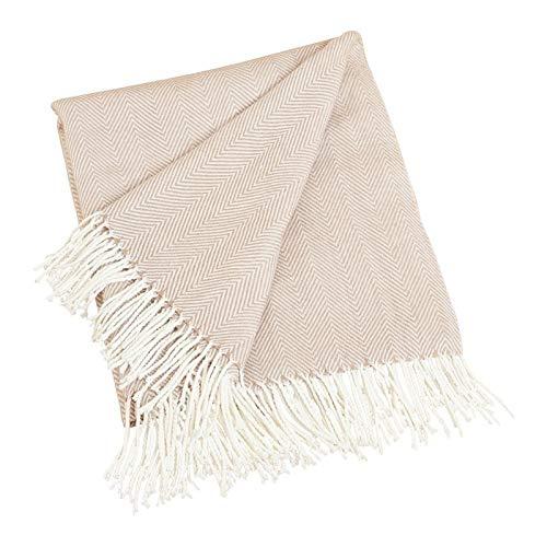 (Fennco Styles Herringbone Fringed Cashmere-Like Throw Blanket, 50