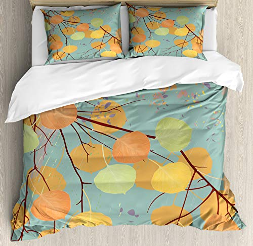 Ambesonne Aspen Tree Duvet Cover Set King Size, Branches with Autumn Leaves Seasonal Inspirations Pastel Kids Fall Background, Decorative 3 Piece Bedding Set with 2 Pillow Shams, ()