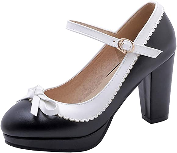 LUXMAX Womens Sweet Lolita Shoes Bow