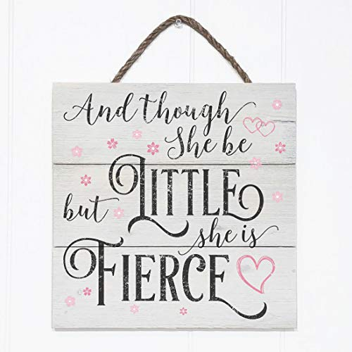 (Artblox Rustic Nursery Room Sign And Though She Be but Little She is Fierce Quotes, Hearts & Flowers Ornaments Artwork, Barn Wood Pallet Farmhouse Wooden Plaque Art Print, 10.5x10.5 - White )