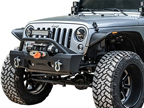 Havoc Offroad GEN 2 Metal Masher Stubby Front Bumper with Bull Bar 2007-2017 Jeep JK Wrangler and Factory Fog Light Cut Outs