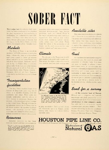 1937 Ad Houston Pipe Line Natural Gas Oil Petroleum - Original Print Ad from PeriodPaper LLC-Collectible Original Print Archive