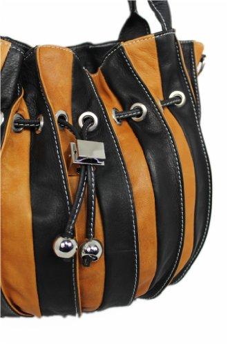 Italy Beutel Tasche Ledertasche XL Shopper Schultertasche MULTICOLORE Leder 02865