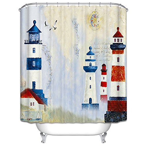 - Unbranded Lighthouses Shower Curtain Ocean Nautical Seagull Sailboat Red White Blue Summer