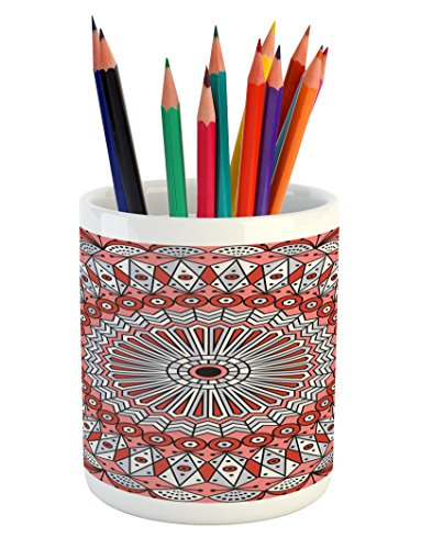 Lunarable Moroccan Pencil Pen Holder, Colorful Ethnic Patterned Arabesque Ornament Medieval Openwork Eastern, Printed Ceramic Pencil Pen Holder for Desk Office Accessory, Coral Red Pale (Openwork Christmas Ornament)