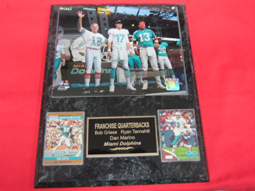 DOLPHINS Bob Griese Ryan Tannehill Dan Marino 2 Card Collector Plaque w/8x10 Photo (1972 Miami Dolphins 8x10 Photo)