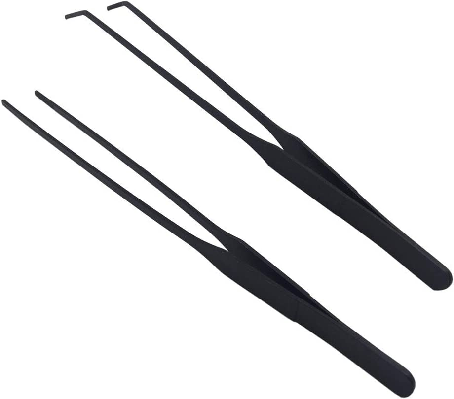 DEECOOYA Aquarium Tweezers Stainless Steel Straight and Curved Tweezers Set for Fish Tank Aquatic Plants Long Handle Reptile Feeding Tongs,10.5 inch Black