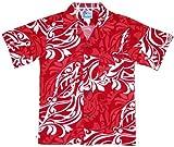 RJC Boys Classic Hawaiian Christmas Rayon Shirt Red 16