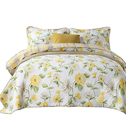 Cotton 3 Piece Romatic Fresh Yellow Floral Wreath Pattern Patchwork Bedspread Quilted Set,Queen