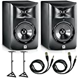 """JBL LSR305 Studio Monitor Pair With Stands & 1/4"""" TRS to XLR Cables"""