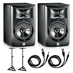 JBL LSR305 Studio Monitor Pair With Stands & 1/4\
