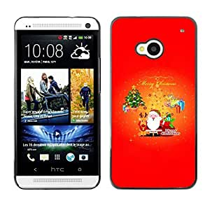 YOYO Slim PC / Aluminium Case Cover Armor Shell Portection //Christmas Holiday Santa Claus & Tree 1066 //HTC One M7