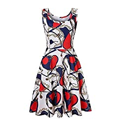Sportsx Women Scoop Neck Print Sleeveless Pleated Cocktail Party Dress As29 S
