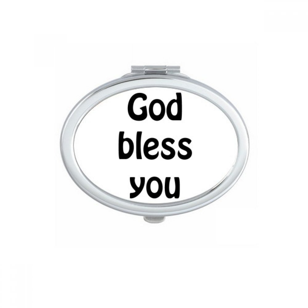 DIYthinker God Bless You Christian Quotes Oval Compact Makeup Mirror Portable Cute Hand Pocket Mirrors Gift