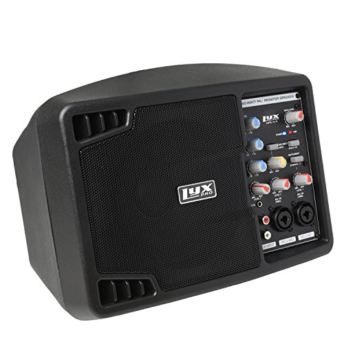 LyxPro SPA-5.5 Small PA Speaker Monitor Class-D Amplifier 3 Channel Mixer 3 Band EQ, Powerful Compact Active Speaker System amp with mixer