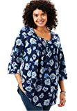 Woman Within Women's Plus Size Pleated Floral Henley Tunic