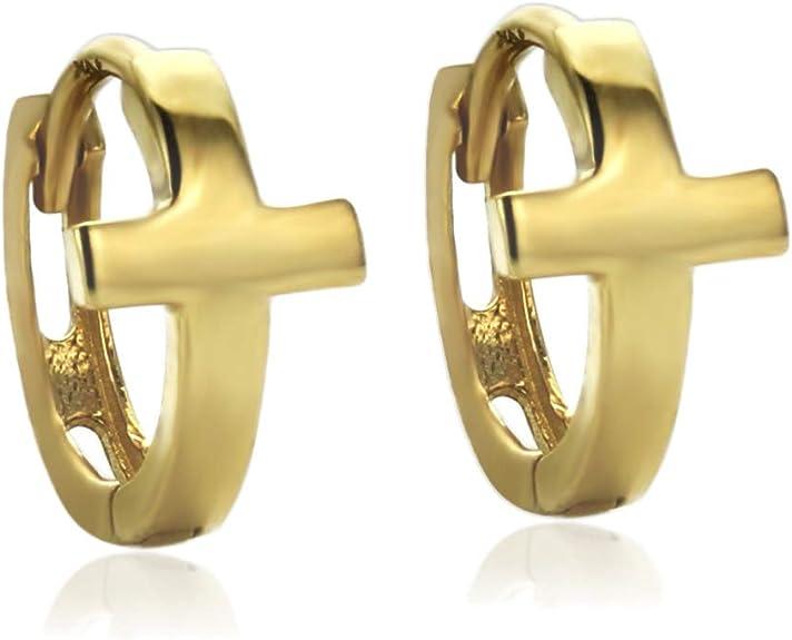 14K Yellow Gold Plain Sideway Cross Huggie Hoop Earrings