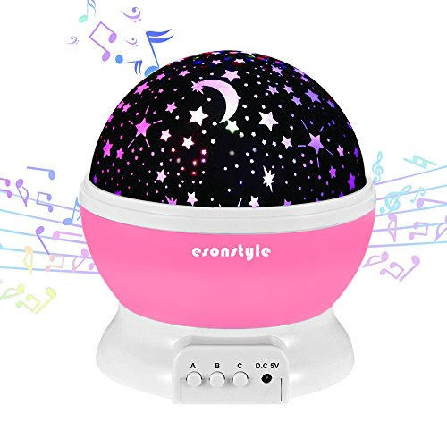 [Update] Esonstyle Musical Night Light,360 Rotating Star Lamp Baby Musical Lamp with Rechargeable Battery,12 Songs to Relax for Sleep Kids Babies Birthday Children Day Christmas Gift (Infant Lamp Musical)