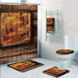 Bathroom Fashion 5 Piece Set shower curtain 3d print,Fall Decorations,Fall Foliage View from Square Shaped Wooden Window inside Cottage Photo,Orange Brown,Bath Mat,Bathroom Carpet Rug,Non-Slip,Bath To