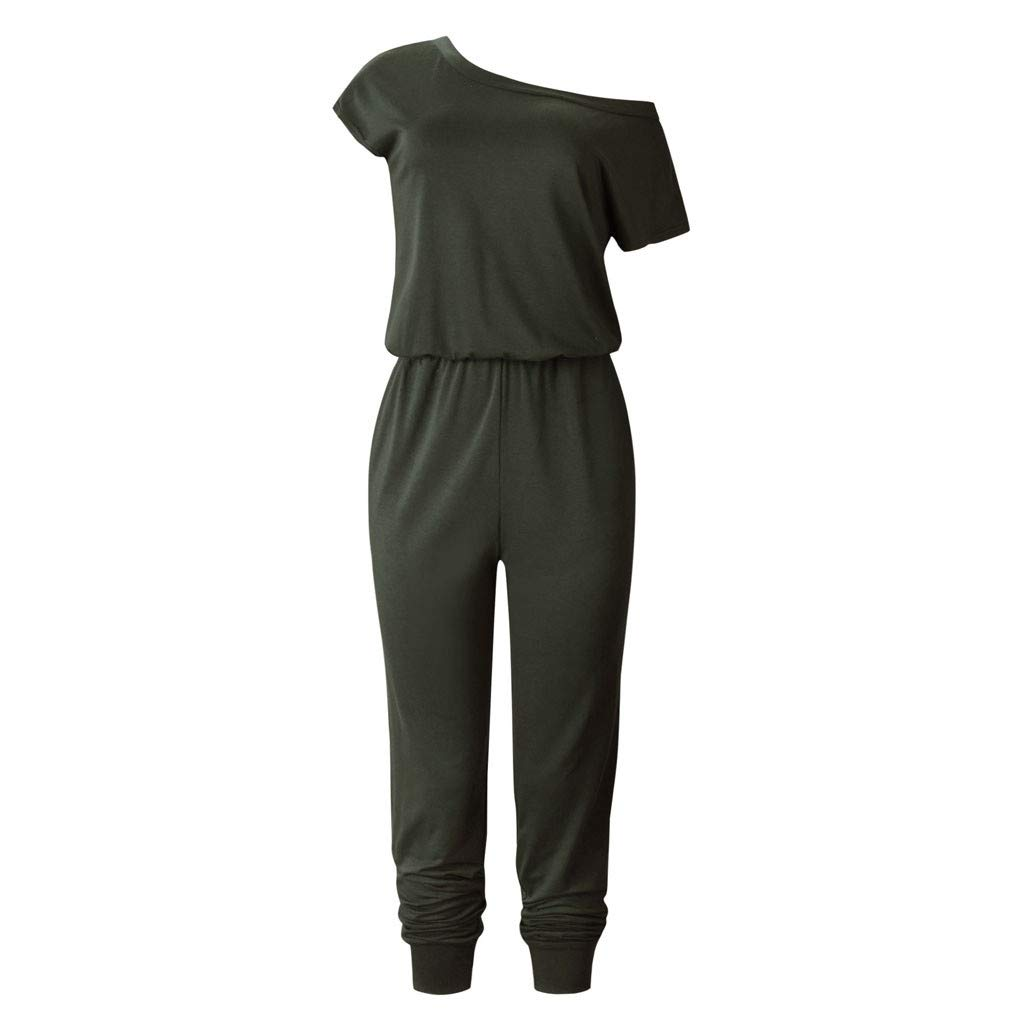 〓COOlCCI〓 Womens Summer Short Sleeve Off One Shoulder Elastic Waist Jumpsuit Rompers with Pockets