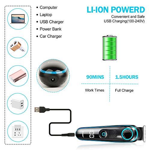 Innoo Tech Tondeuse à cheveux professionnelle pour homme 5 en 1 multifonction sans fil pour barbe, nez et corps, kit de coupe de cheveux tout-en-un avec affichage LED rechargeable par USB humide