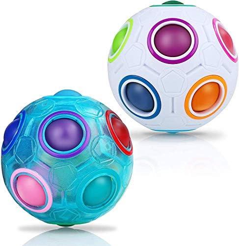 Sensory Fidget Toy Set Rainbow Puzzle Balls, Matching Color Memory Game Fidget Cube Magic Block Stress Relief Anti Anxiety Autism Brain Teasers Thinking Stocking Stuffers Gift Kids Adults(2PCS)