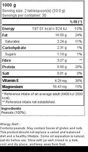 Prozis Peanut Butter 1kg - Deliciosa y de Textura Crujiente - Fuente Natural de Proteína - Apta para Dietas Veganas, Kosher y Halal - Sin Sal Añadida ...