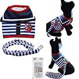 Bolbove Pet Sailor Stripes Vest Mesh Harness and Leash Set for Cats & Small Dogs (Small, Blue)