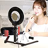 8-inch Table Top Dimmable LED Ring Light 24W 5500K O Selfie Lighting Kit with Desktop Bracket,Mirror,Mini Tripod,Phone Clamp,for Makeup,Camera Smartphone Youtube Video Shooting