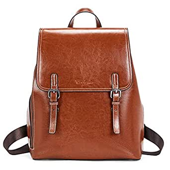 BOSTANTEN Leather Backpack Purse for Women Casual College Casual Laptop Bags Daypack