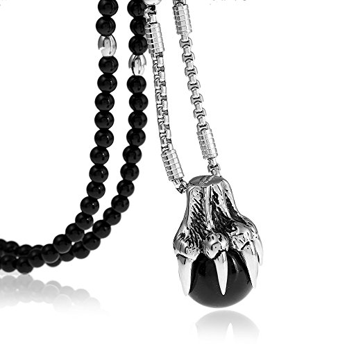 (BLEUM CADE Gothic Stainless Steel Dragon Claw Ball Pendant Necklace with Natural Agate Stone Chain 26