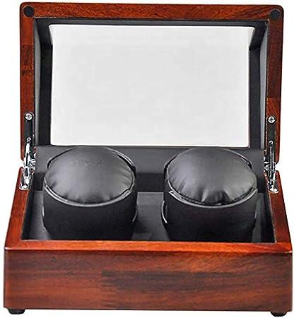 Enrollador de reloj preciso Enrollador de reloj automático doble - Estuche de almacenamiento de madera de lujo - 4 modos de rotación Cerradura antimagnética Rotador de reloj doble Movimiento de mot: Amazon.es: Hogar