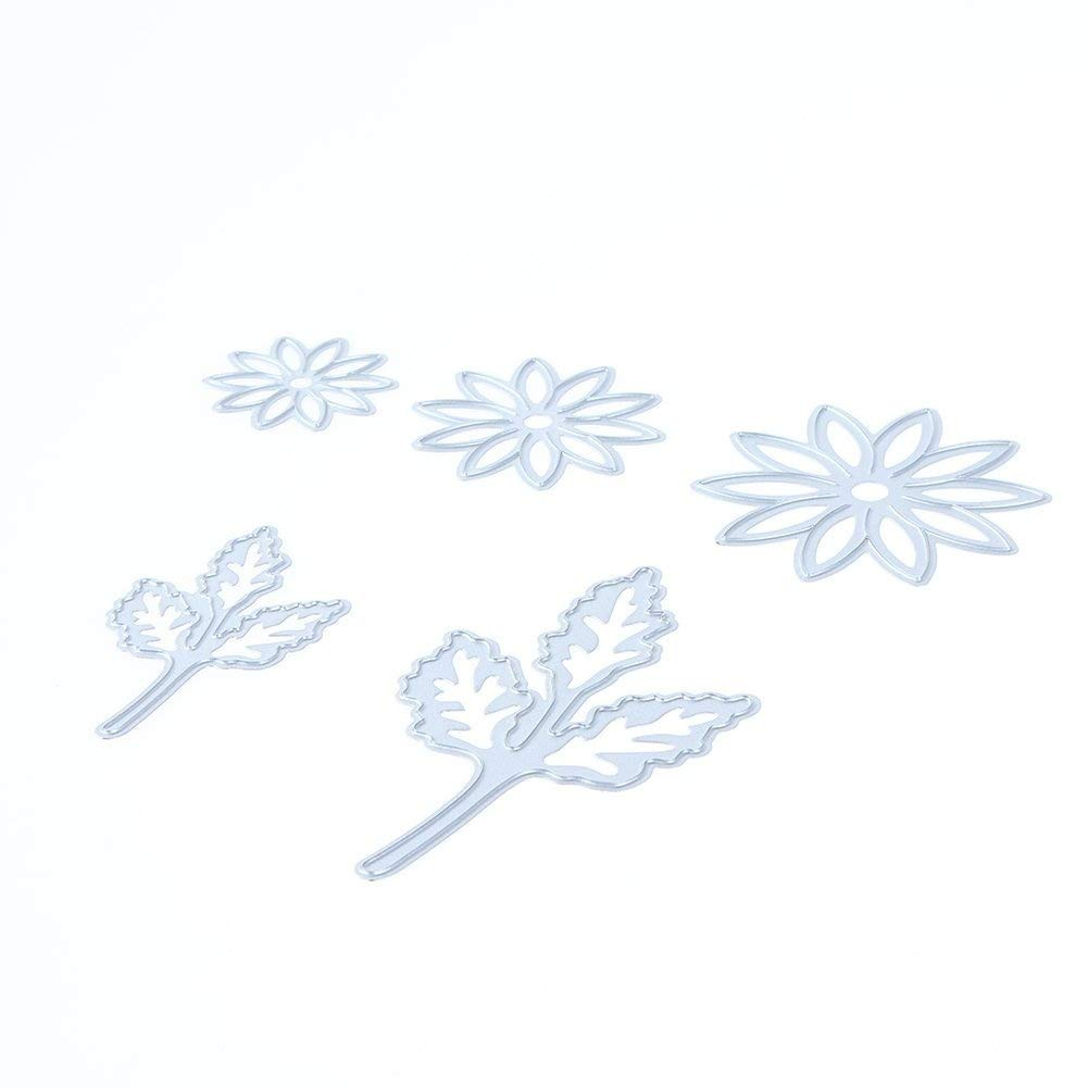 whitelotous 5pcs flower leaves cutting dies handmade diy stencils
