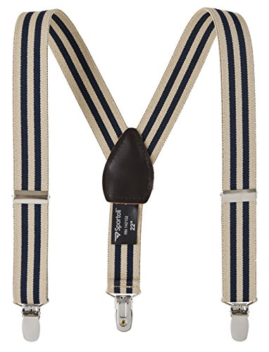 Suspenders for kids Baby Adjustable Elastic Solid, Striped, and Polka Dot Suspenders - Tan/Navy Stripes (22 Inch)