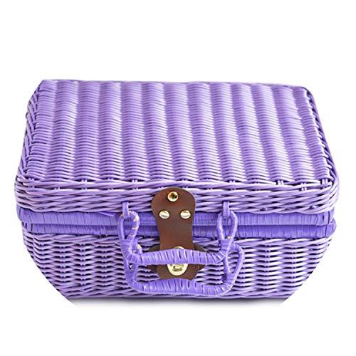 Vintage PP Wicker Picnic Suitcase Food Holder Travel Storage Fruit Imitation Rattan Storage Basket Handmade Woven Handbag,22x16x10cm,Purple (Clue Wicker Crossword Basket)