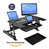 Wide Stand Up Computer Workstation By G-Pack Pro - 36'' Adjustable Height Sit Stand Desktop Table - Durable Aluminum Metal Frame & MDF Table Top Convertible, Ergonomic Rising & Lowering Desk