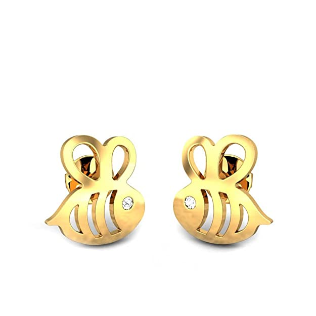 Candere by Kalyan Jewellers 18KT Yellow Gold and Diamond Stud Earrings for Girls